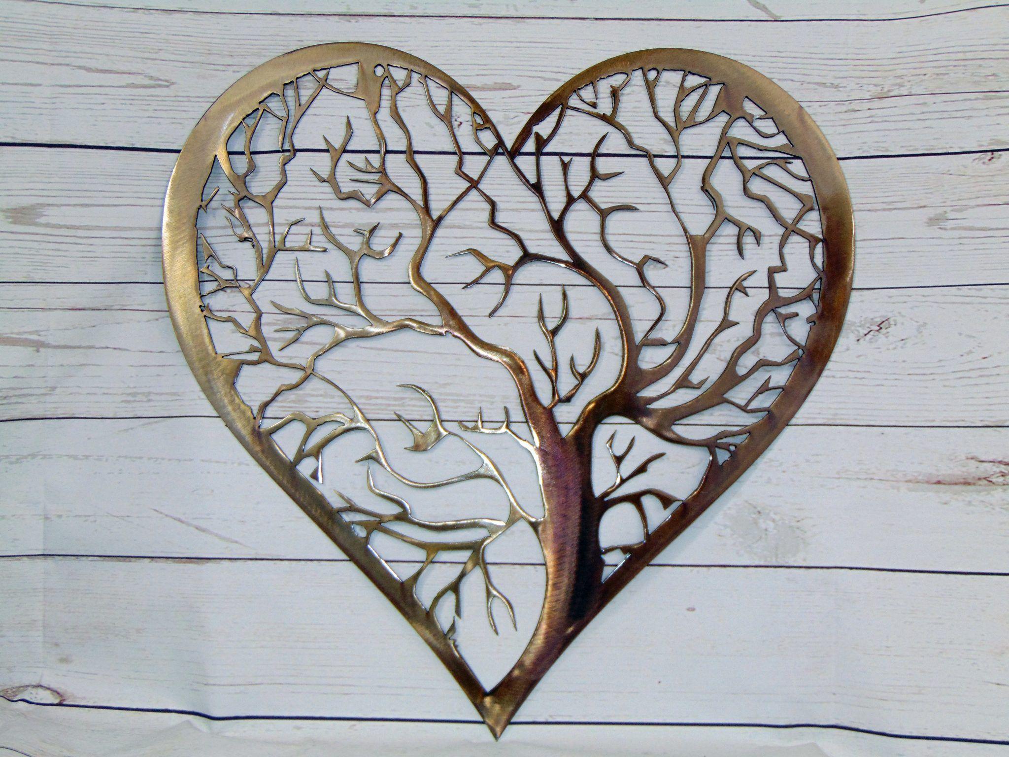 Heart tree of life metal wall art heart art pinterest metal