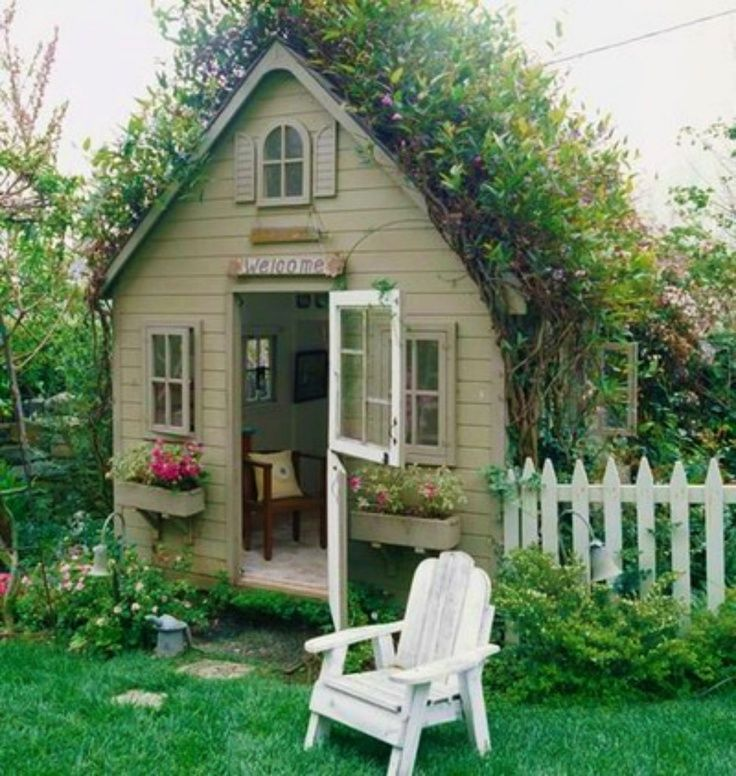 Superb Darling Little House.love The Window Boxes! This Is Not Really A Garden Shed  But Rather A Garden Cottage. Even Has A White Picket Fence! So Quaint And  Cute.