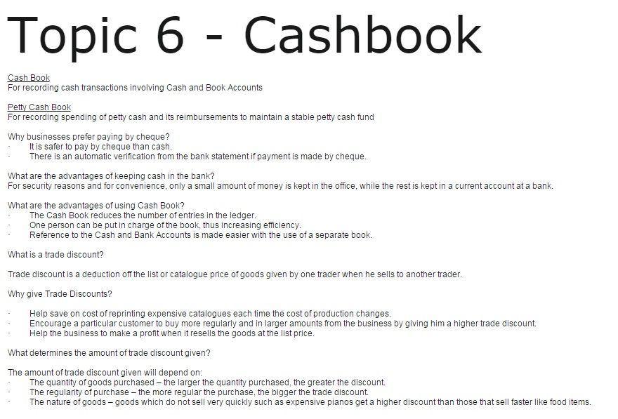 Topic 6 - Cashbook Cash Book For recording cash transactions - mortgage note
