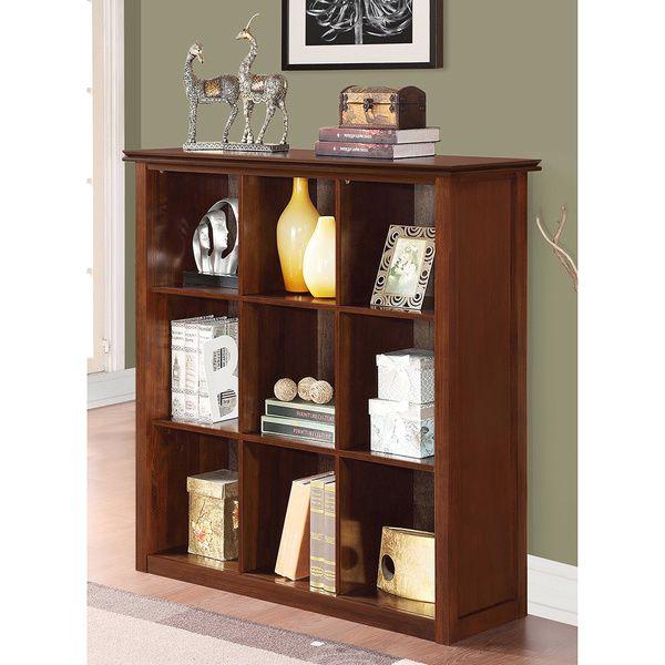 Wyndenhall Stratford Auburn Brown 9 Cube Bookcase Storage Unit