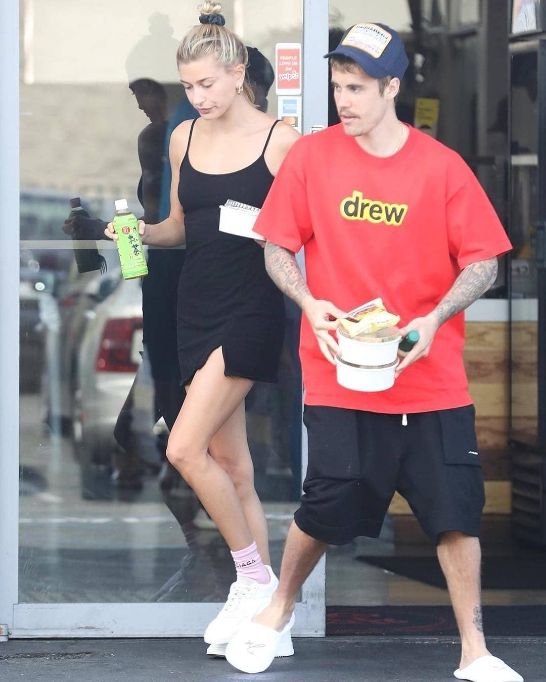 cbb866080 Justin and Hailey at Uroko Cafe in Los Angeles, California. (March ...