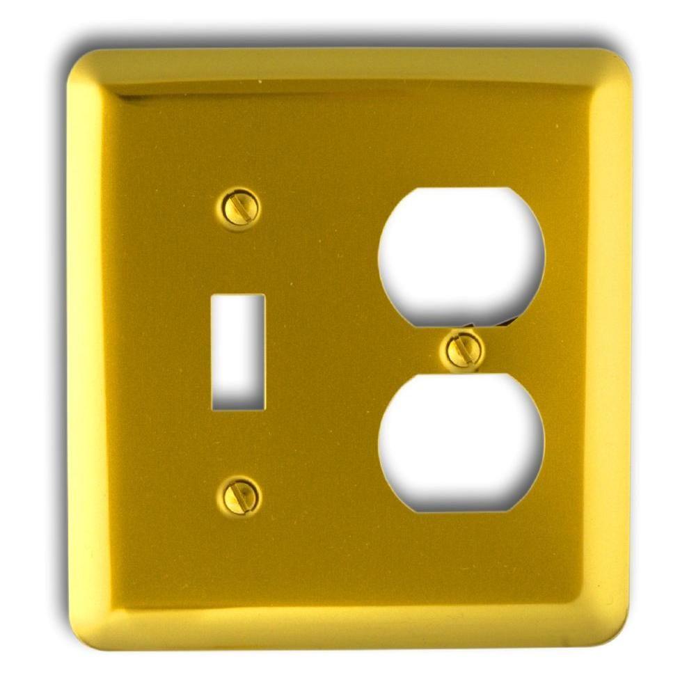 Steel 1 Toggle 1 Duplex Wall Plate - Bright Brass | Bright, Steel ...