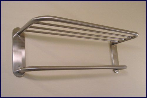 Hotel Style 24 Towel Rack Shelf In Satin Nickel With Drying Bar By