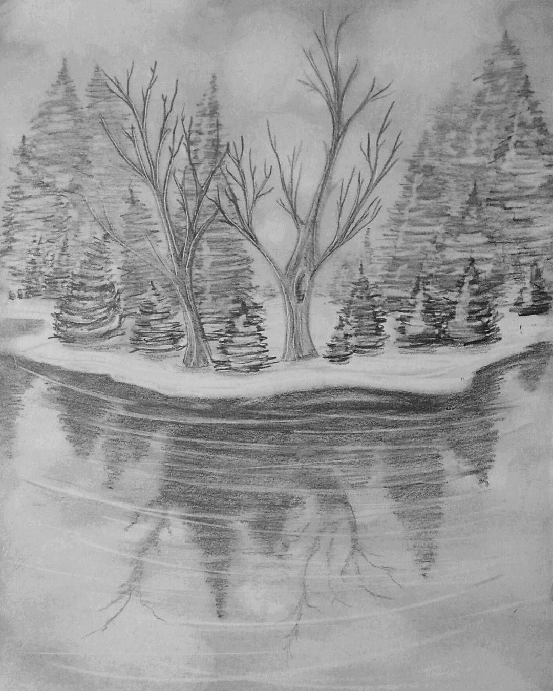 Pencil Drawing Original Handmade Item Tree Art Acid Free Paper Nature Illustration Wall Art Pencil Sketch Matte Board