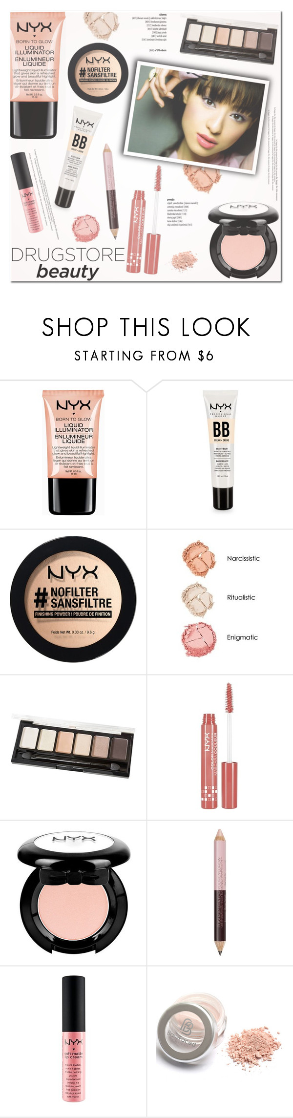 """""""Beauty on a Budget: Drugstore Beauty"""" by helenevlacho ❤ liked on Polyvore featuring beauty, NYX, contestentry, beautyset and drugstorebeauty"""