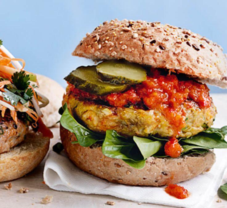 Moroccan Pumpkin Chickpea And Haloumi Burgers Healthy Food Guide Recipe Healthy Recipes Healthy Food Guide Recipes