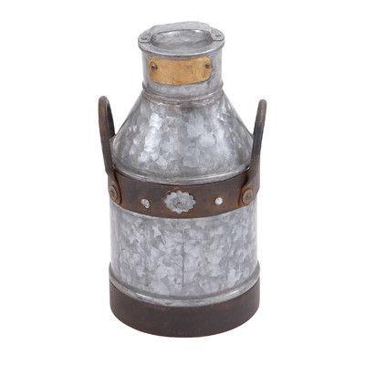 Cole & Grey Metal Galvanized Milk Can Decorative Jar