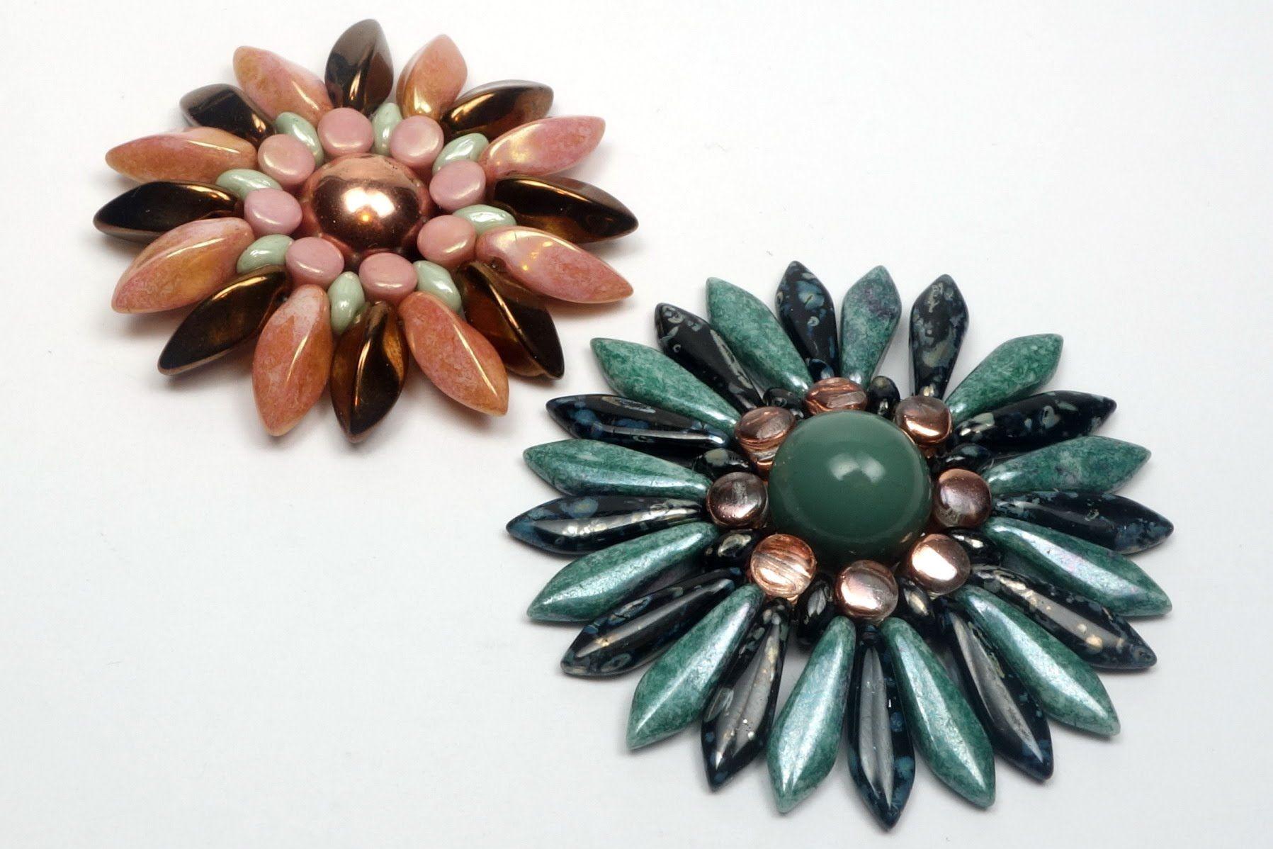 Schmuck selber machen: Blume aus böhmischen Glasperlen, als Brosche, Rin...