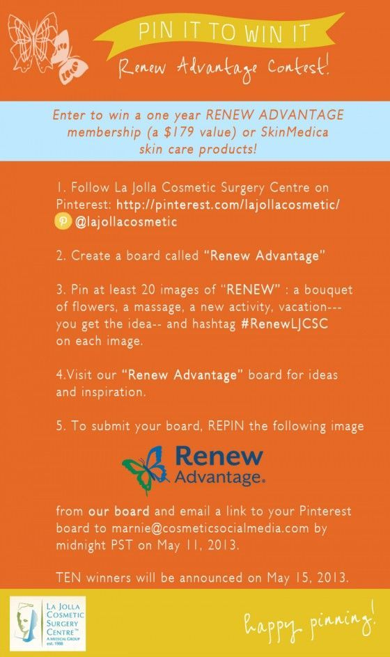 Pinterest Contest we are doing for our client @La Jolla Cosmetic Surgery Centre. :)
