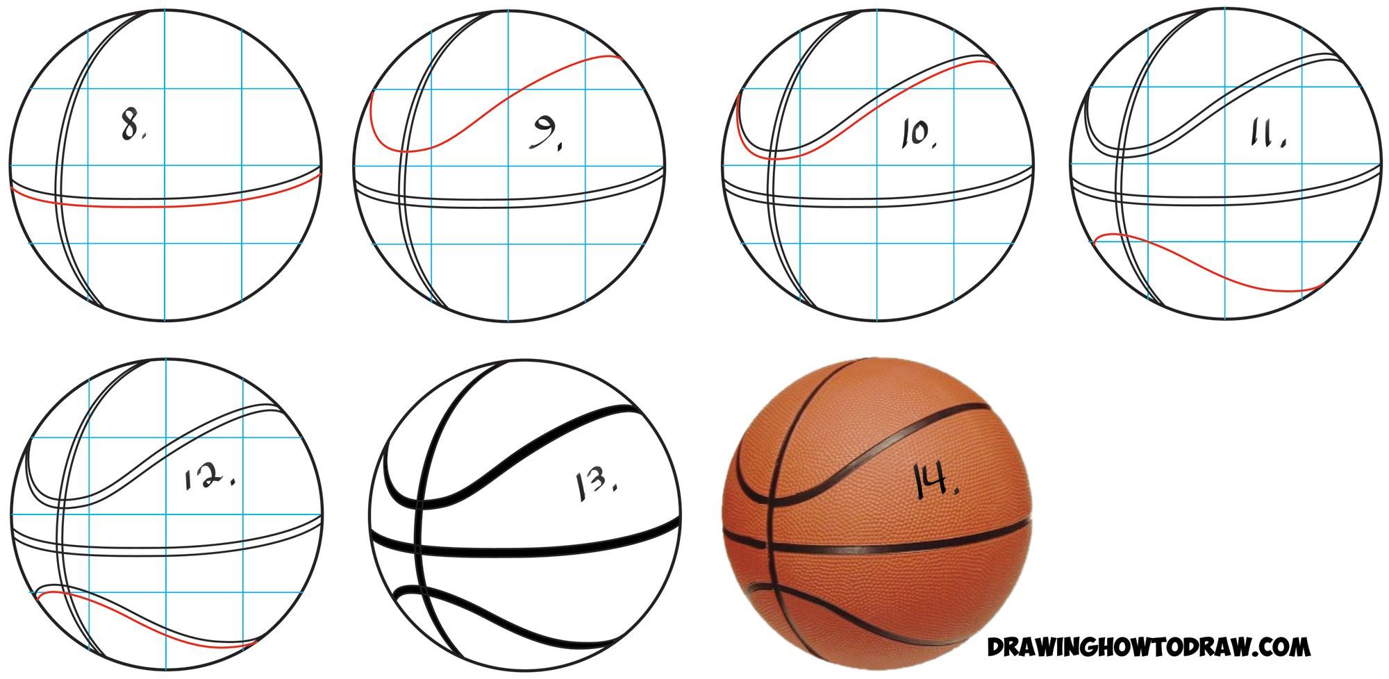 Learn How To Draw Basketballs In Simple Steps Drawing Lesson Ball Drawing Drawing Tutorial 3d Drawings