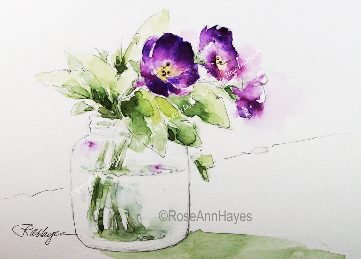 Watercolor Painting Print Purple Flowers In Glass Jar Floral 花