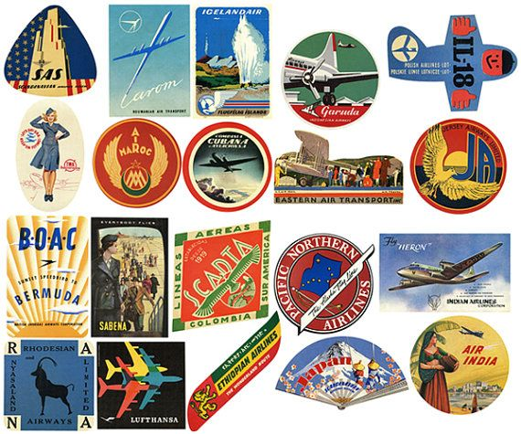 20 Vintage Airline Luggage Labels Air Travel Digital by TursiArt ...