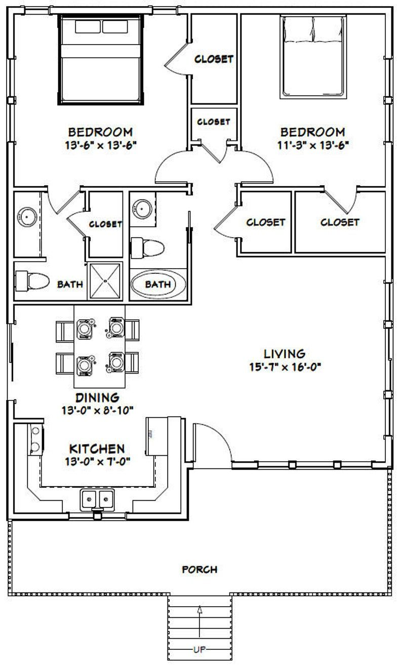30x40 House 2 Bedroom 2 Bath 1 136 Sq Ft Pdf Floor Plan Instant Download Model 1 In 2020 Metal House Plans 30x40 House Plans Small House Floor Plans