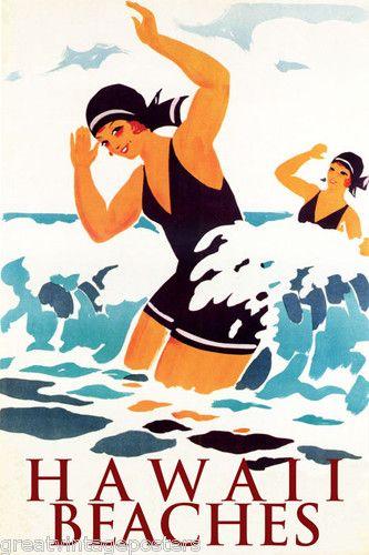 Girls Swim Swimming Hawaii Beaches Vacation Travel Tourism Vintage Poster