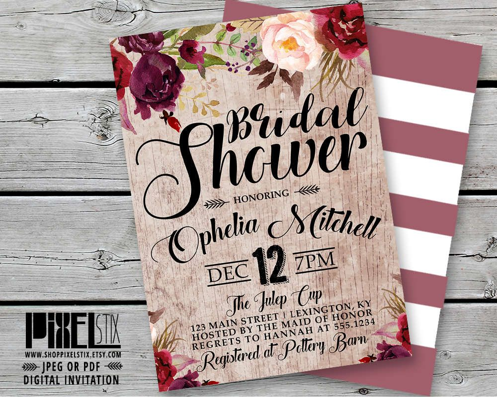 bohemian floral bridal shower invitation weathered wood invite peony and rose flowers vintage rustic wedding mauve burgundy wine taupe by shoppixelstix