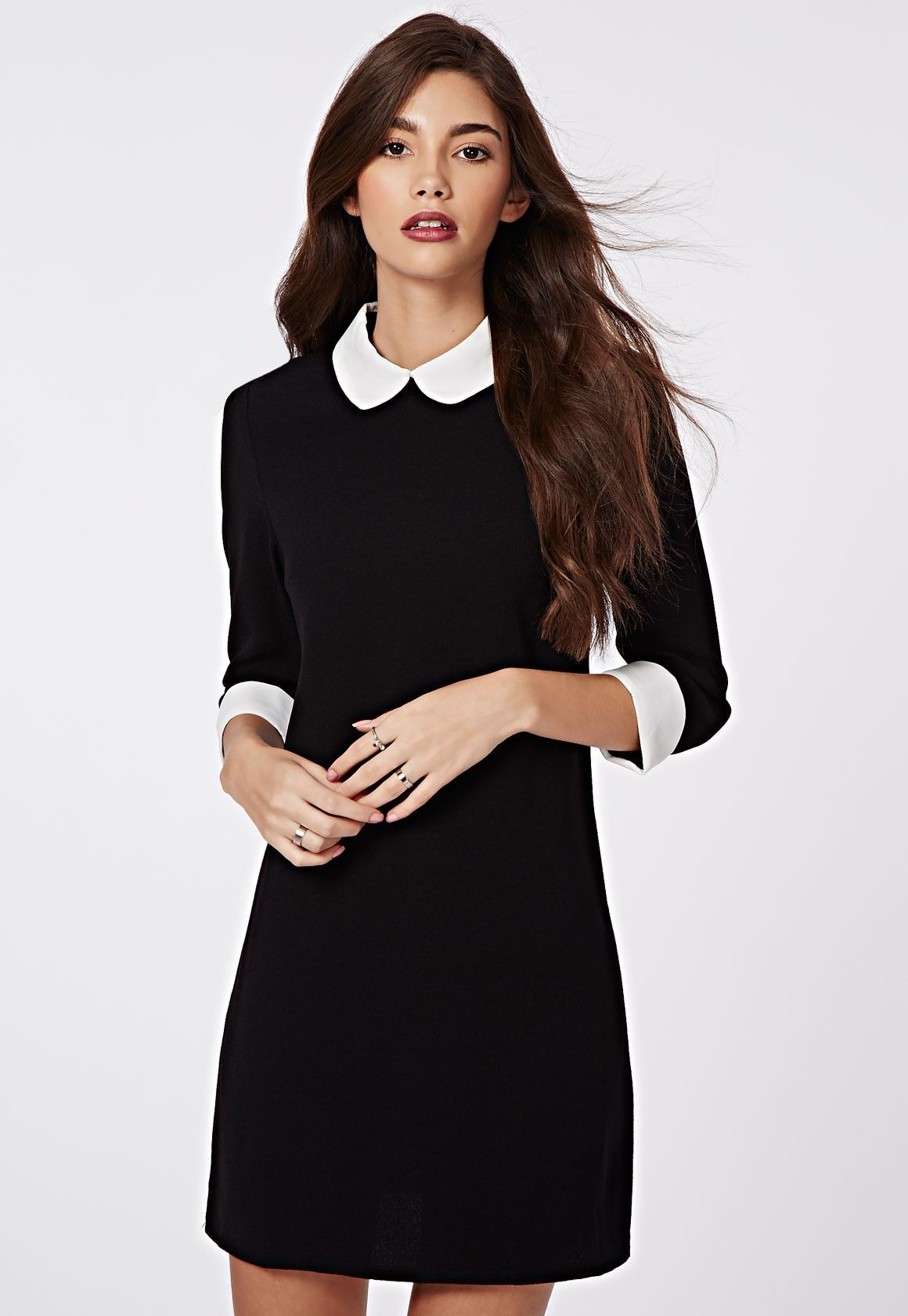 missguided robe droite col claudine shayne noir et blanc mode pinterest peter pan. Black Bedroom Furniture Sets. Home Design Ideas