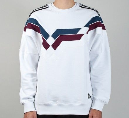 Adidas x Palace Stripe Crew Neck Sweatshirt (White)