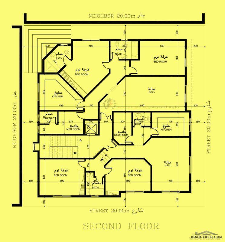 مخطط قسيمه 400م زاويه 20 20 مهندس بليه المسفر Villa Design Floor Plans Building Plan