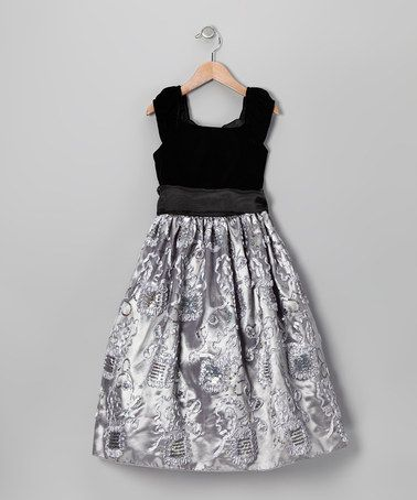 5a82084b Take a look at this Black & Silver Sequin Embroidered Velvet Dress - Girls  by Dimples on #zulily today! Love the details!!