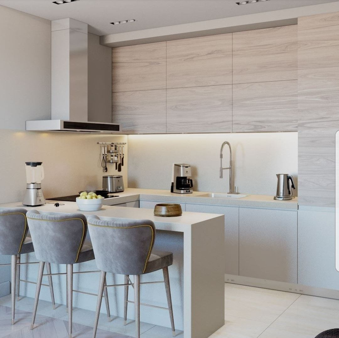 Modern Furniture Small Kitchen Decorating Design Ideas 2011: Small Contemporary Grey-scale Kitchen With Clean Lines