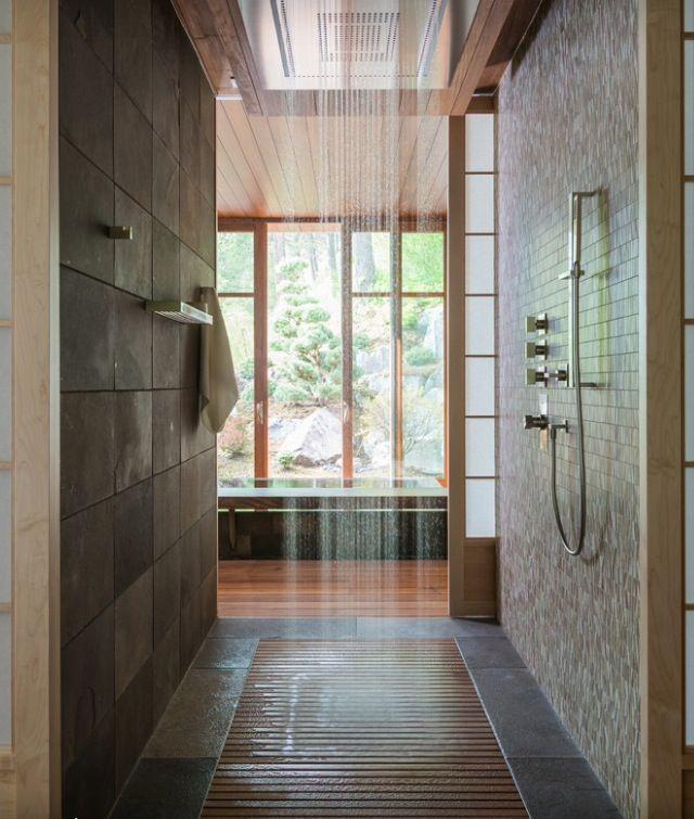 Contemporary Master Bathroom With Daltile Clio Nox Mosaic Specialty Door Drop In Bathtub