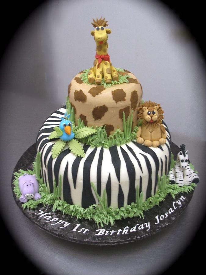 Jungle Animal Themed Birthday Cakes Kids
