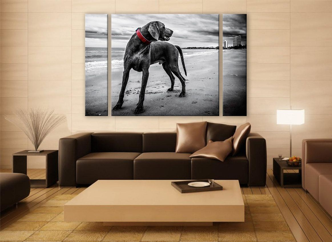 Home interiors and gifts paintings - B W Weimaraner Portrait Canvas Print 3 Panels Print Animal Wall Decor Fine Art Photography Repro Print