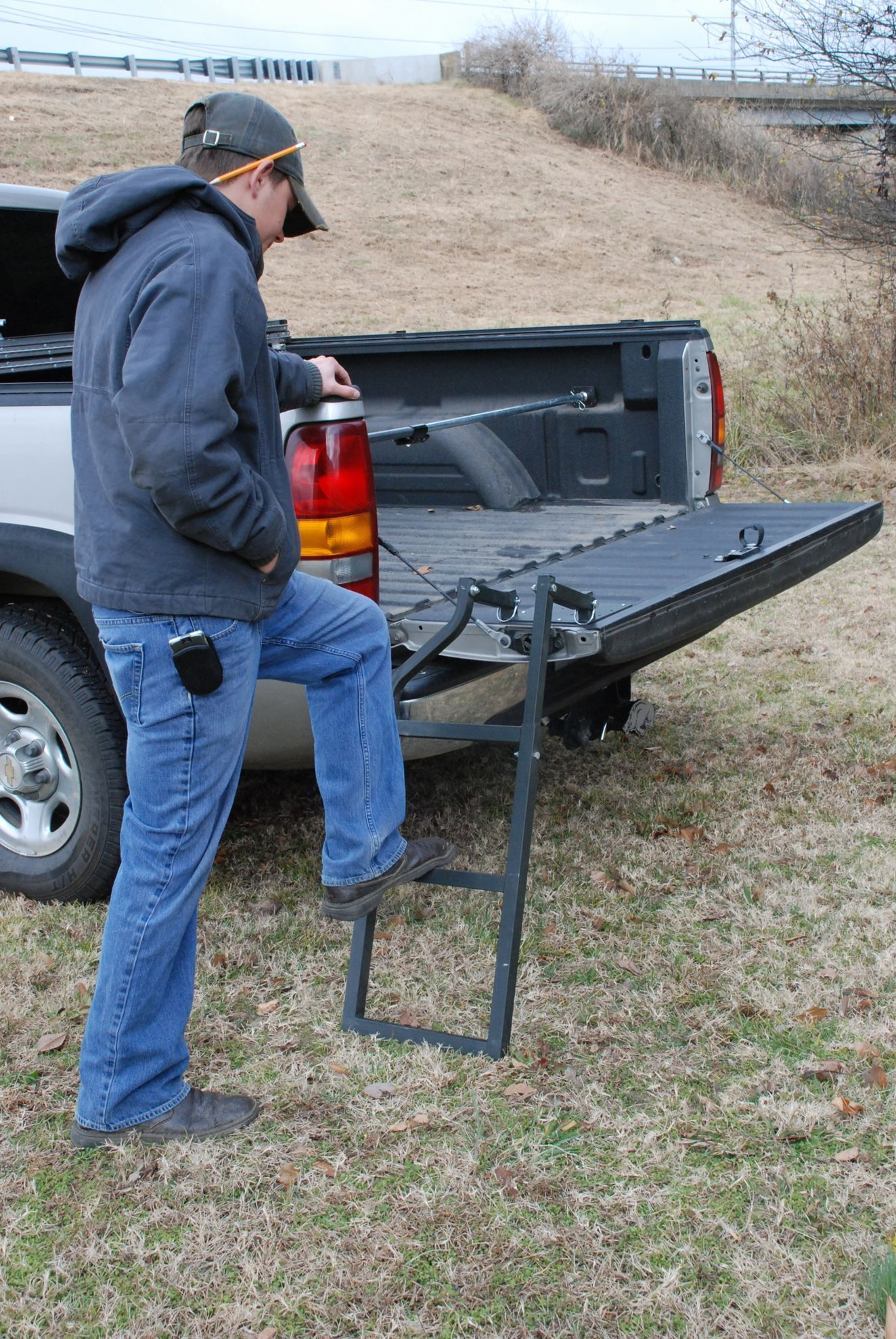 traxion pickup truck tailgate step ladder easily removed folds out