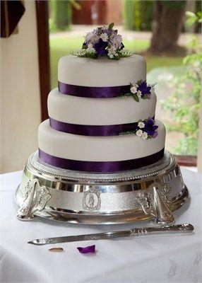 3 Tier Purple Ribbon Simple Flower Details Wedding Purple