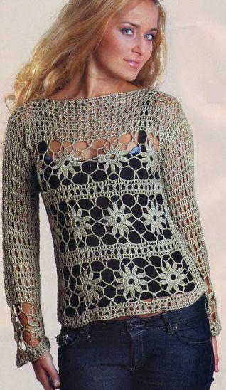 Katia Ribeiro Crochê Moda e Decoração Handmade   Blusa em Crochê com  Motivos Florais com Gráficos c1d70d12ea0