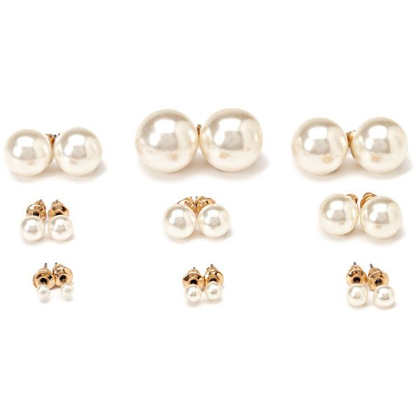 Faux Pearl Stud Set 3 90 Liked On Polyvore Featuring Jewelry Earrings