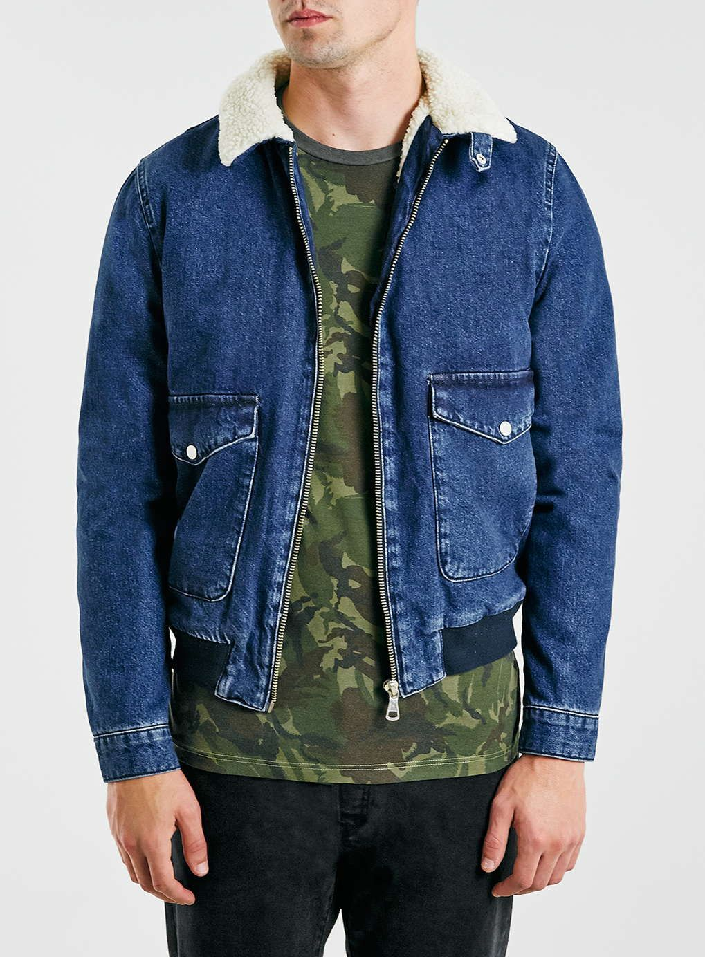 Blue Denim Borg Lined Flight Jacket | Walking in Vegan ...
