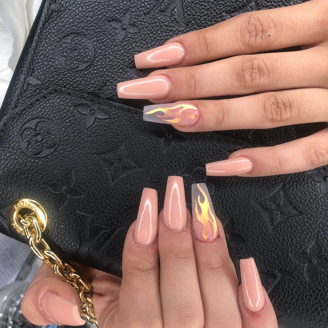 We Nails On Instagram Amzsupplies For Flames Ombrenails Nailgameonpoint Nailsofinstagram Nailsoft Flame Nail Art Coffin Nails Designs Best Acrylic Nails