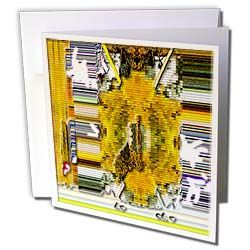 Yellow, Gold, Green and Orange Tiles with Lines of Green, Purple, Blue and Black Beveled  Greeting Card