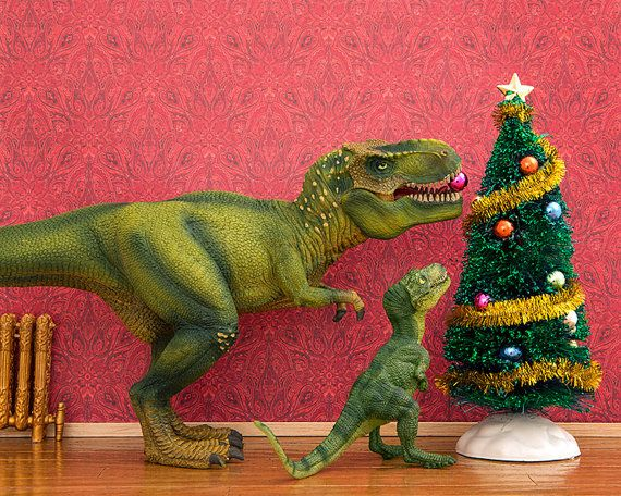 Christmas, T. Rex dinosaur, red and green festive wall art - The ...