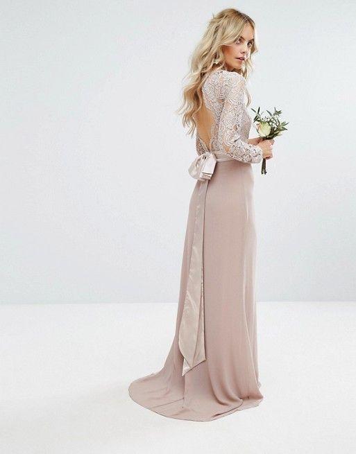 Asos Petite - TFNC Petite Wedding Lace Maxi Dress With Bow Back in mink e76ea2e8f