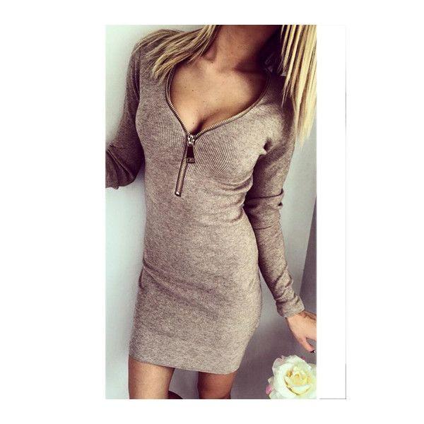 13c38ae7de76 Rotita V Neck Zipper Closure Coffee Bodycon Dress ( 18) ❤ liked on Polyvore  featuring dresses
