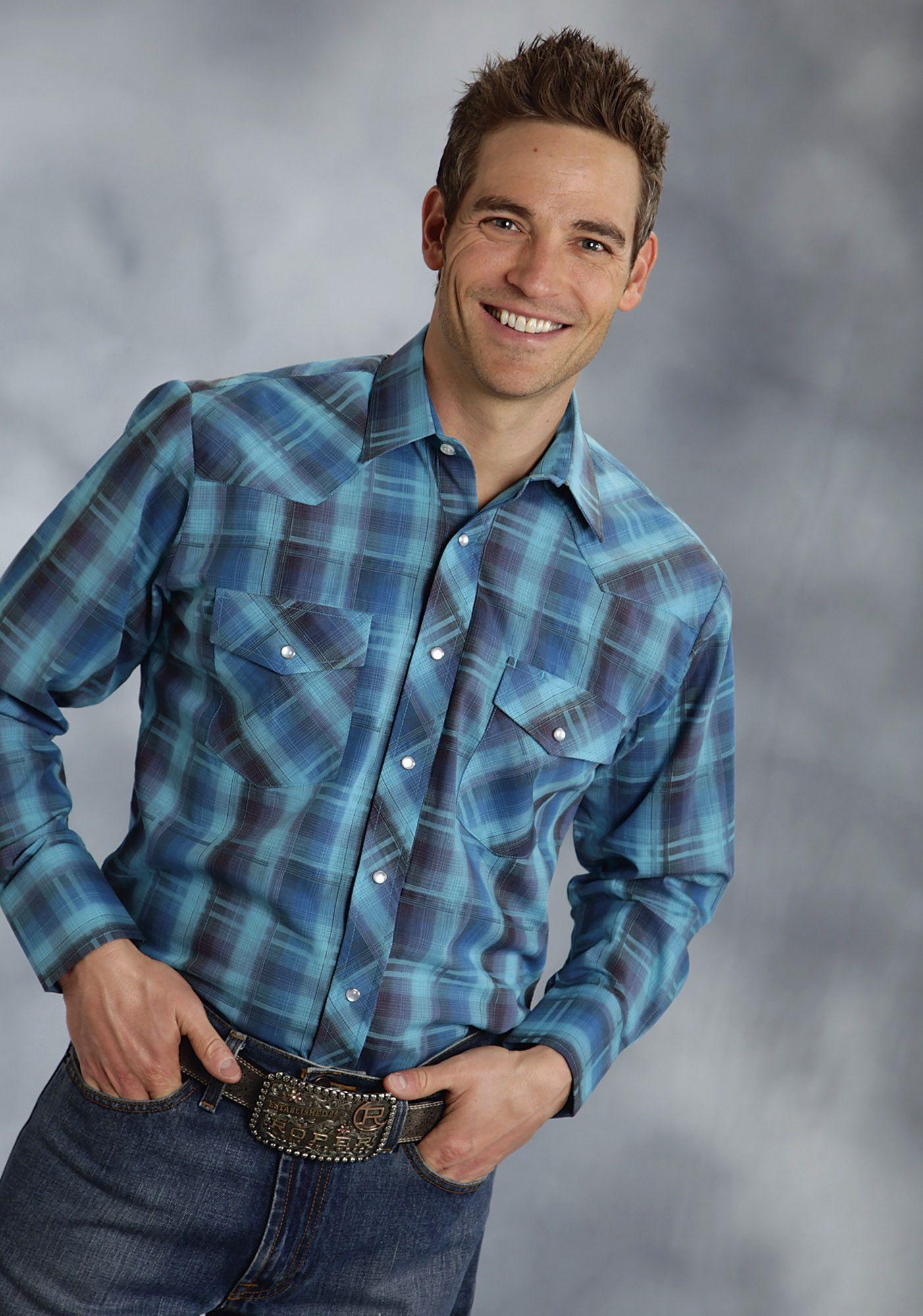 Roper mens plaids blue cotton blend ls turquoise western