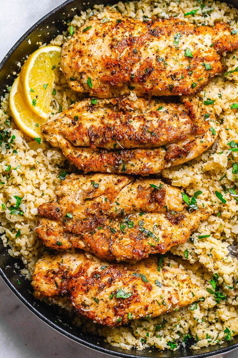 15-Minute Garlic Butter Chicken with Parmesan Cauliflower Rice Garlic Butter Chicken with Parmesan Cauliflower Rice - Crispy, soft and SO delish! Perfect for when you want to come home to a delicious gluten-free, low-carb dinner. l#owcarb - by