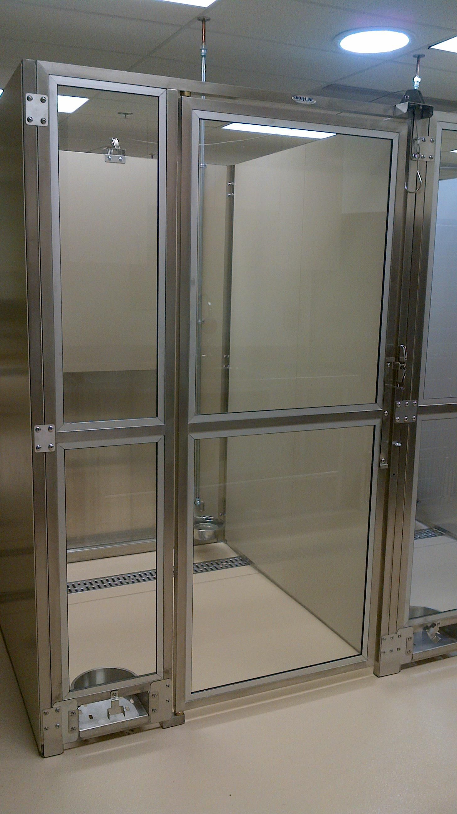 Kennel Run System with Glass Gates & a Back Transfer Door