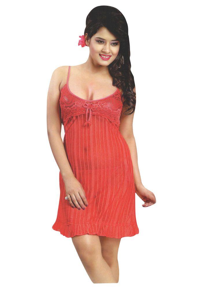 Indiatrendzs Hot Red Short Night Set 3pc Babydoll Bedroom Nighty   Lingerie  Set  d292e4d41