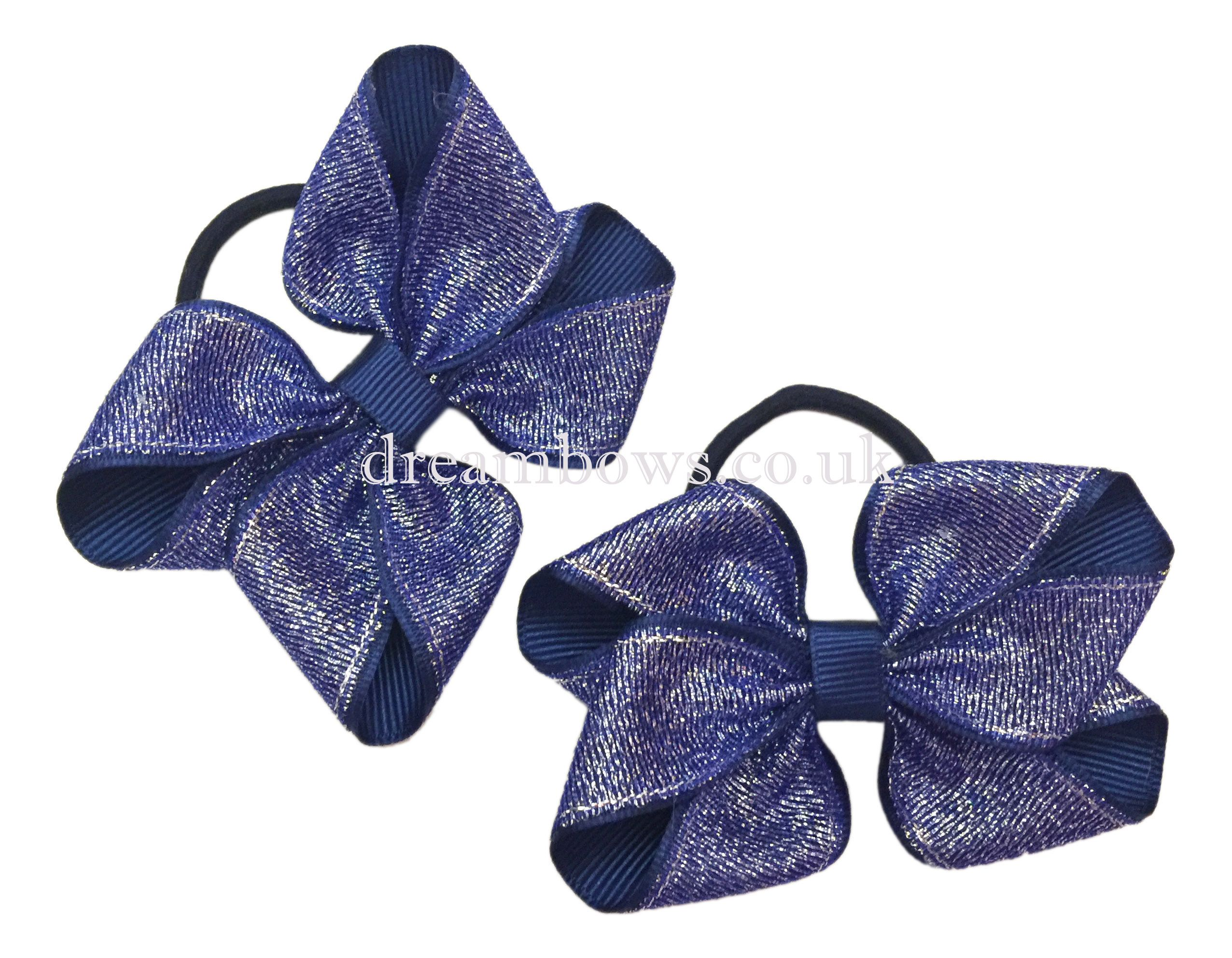 Royal blue glitter hair bows on thinbobbles - www.dreambows.co.uk