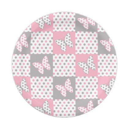 Pink Grey Gray Butterfly Polka Dot Patchwork Quilt Paper Plate  sc 1 st  Pinterest & Pink Grey Gray Butterfly Polka Dot Patchwork Quilt Paper Plate ...