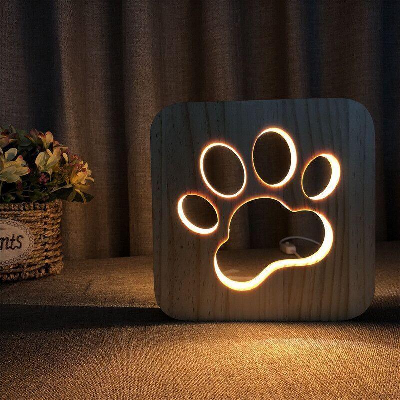 Wooden Dog Paw Cat Animal Night Light French Bulldog Luminaria 3d Lamp Usb Powered Desk Lights For Baby Christmas New Year Gift Wooden Lamp Dog Lamp Animal Lamp