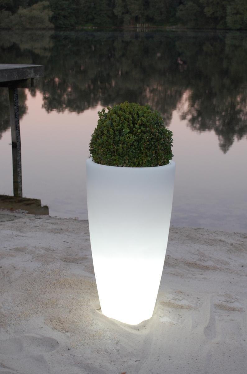 Pflanzkubel Blumenkubel Kunststoff City Beleuchtet Weiss