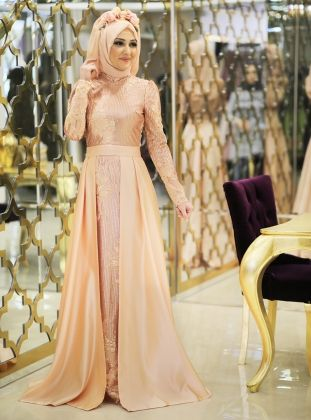 e8af2acd63e13 Kugu Evening Dress - Salmon - Minel Ask | Hijab | Dresses, Evening ...