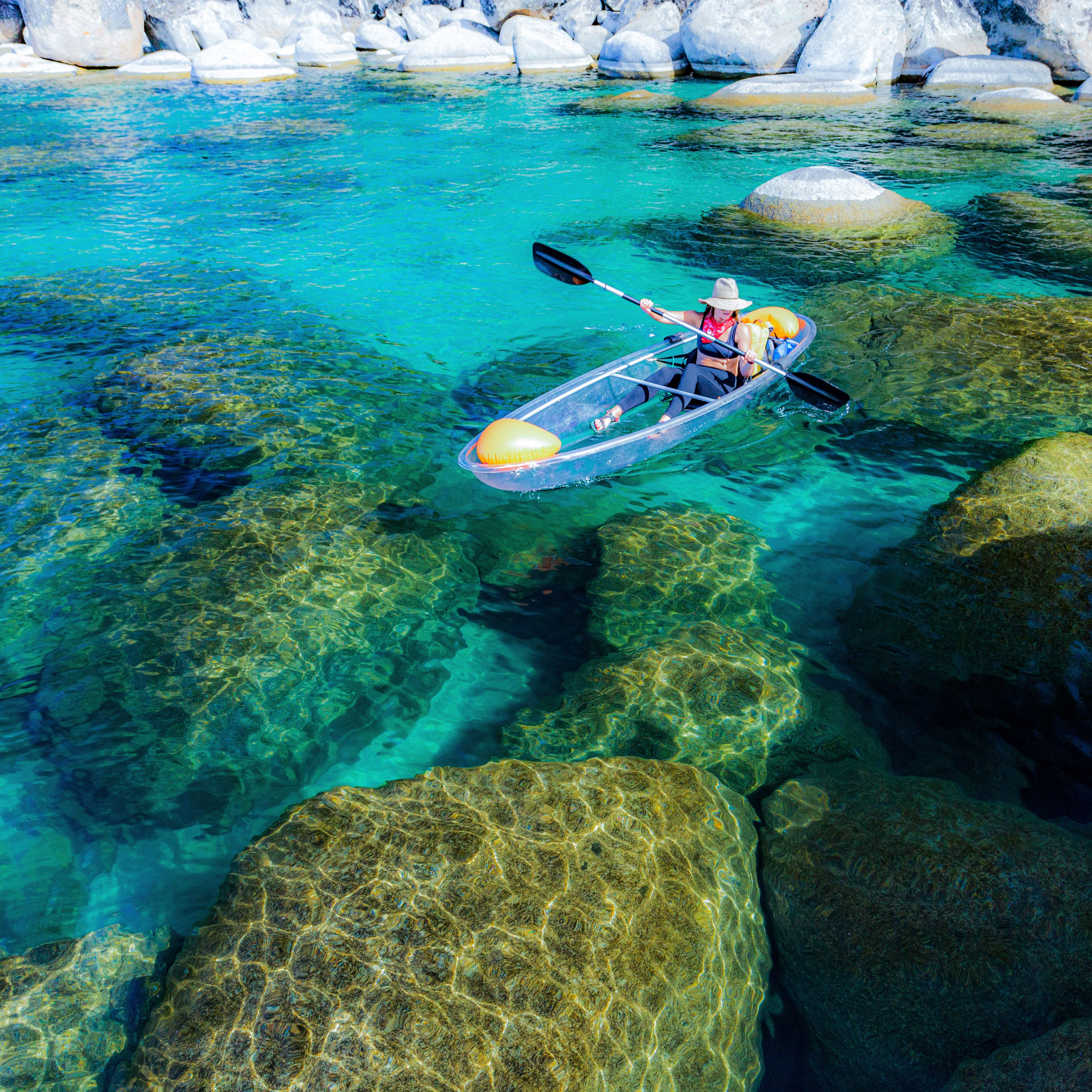 Clear kayaking at the jewel of the sierras lake tahoe ca