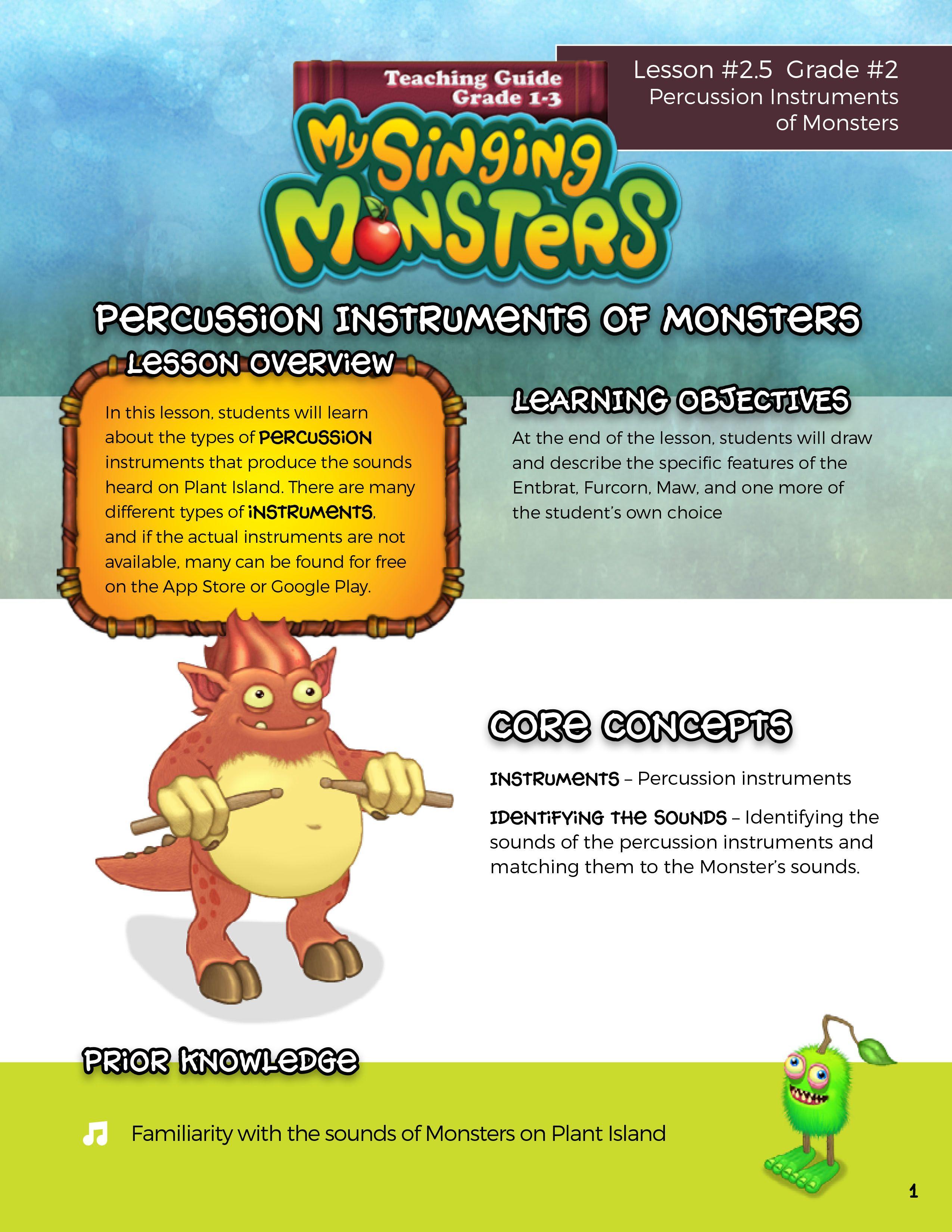 Teaching Guide Grade 1 3 My Singing Monsters In