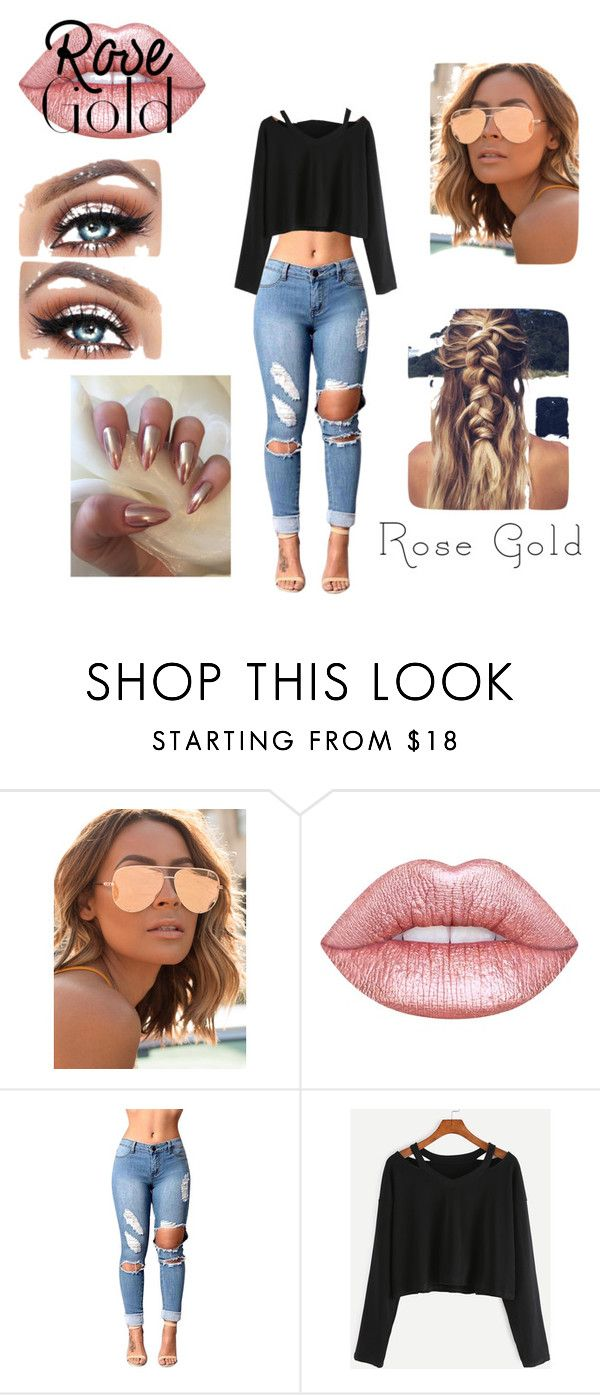 """rose gold!"" by deedeelove16 on Polyvore featuring Quay and Lime Crime"