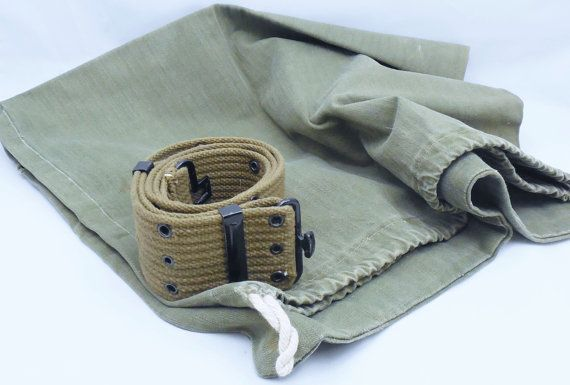 d09bac7b124 Military Green Utility Belt Size 44 Duffle Bag Included   ANTIQUE ...